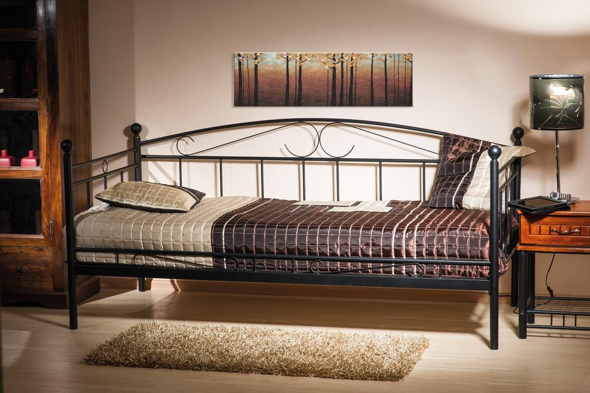 einzelbett metallbett 90x200 schwarz top neu 2017 mit. Black Bedroom Furniture Sets. Home Design Ideas
